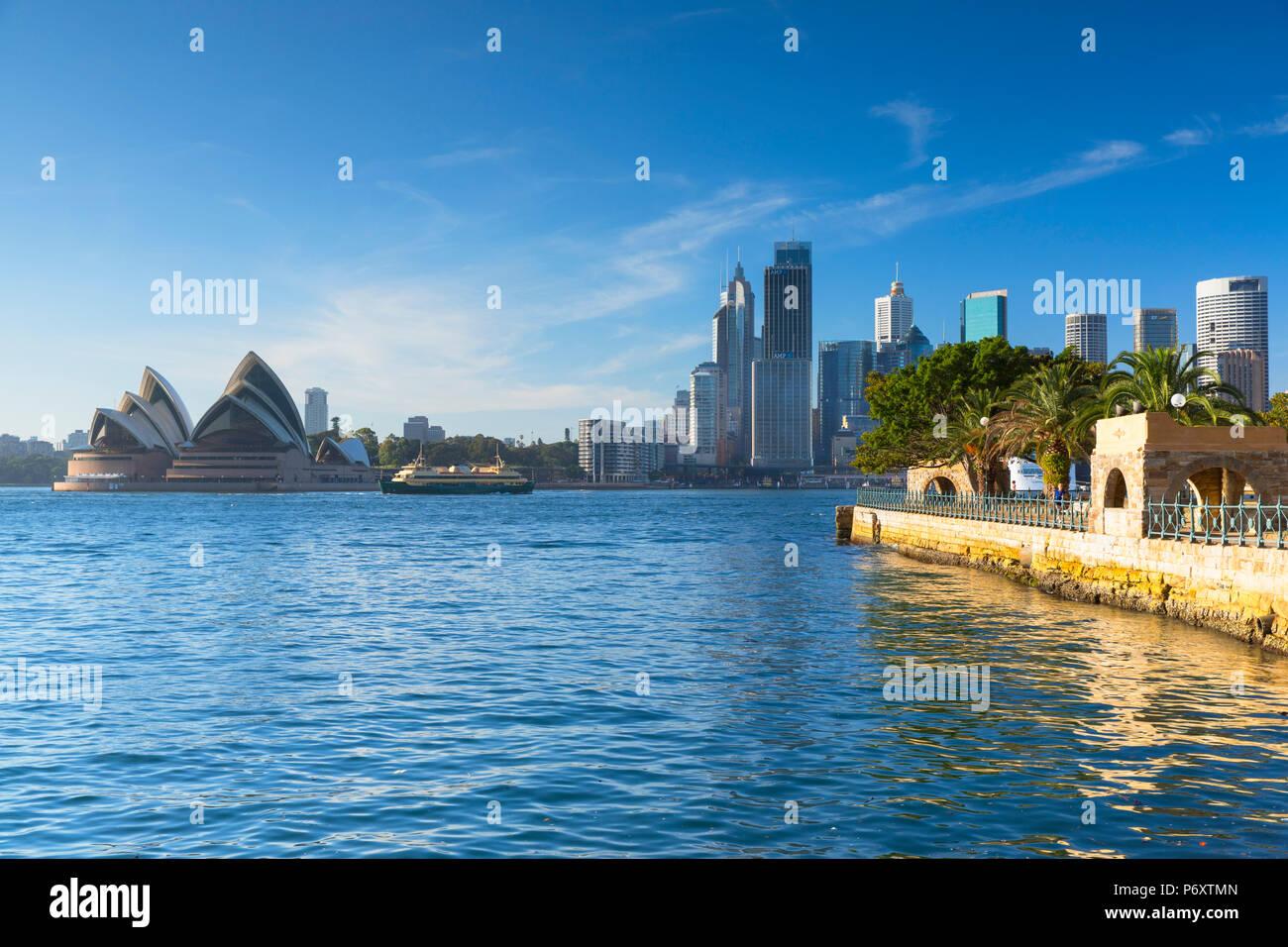 Sydney Opera House e dello skyline della città di Sydney, Nuovo Galles del Sud, Australia Immagini Stock