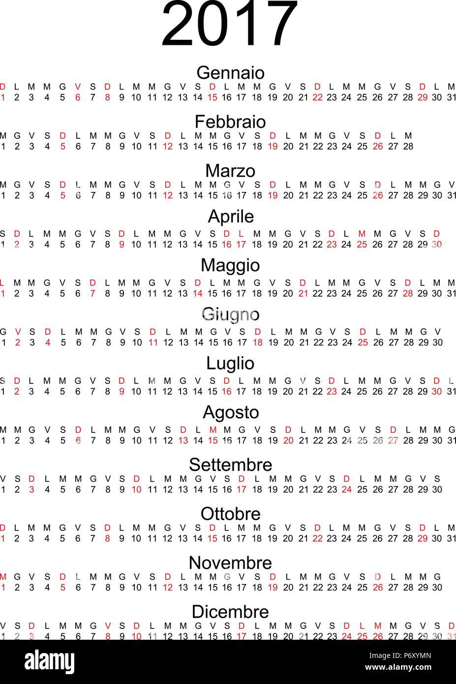 Calendario Nazionali.Calendario 2017 Con Feste Nazionali Italiane Contrassegnati