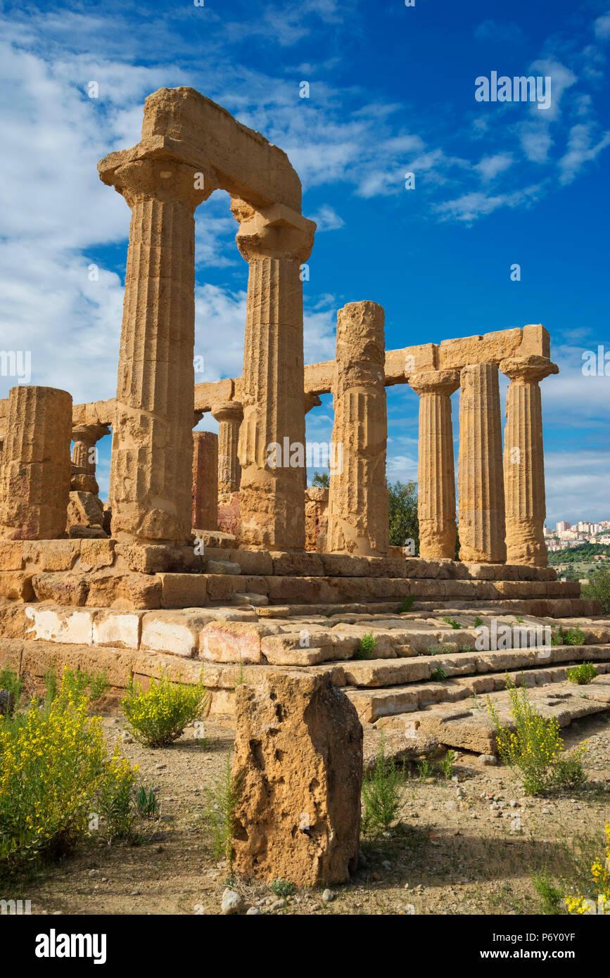 Tempio di Giunone, Valle dei Templi, Agrigento, Sicilia, Italia Immagini Stock