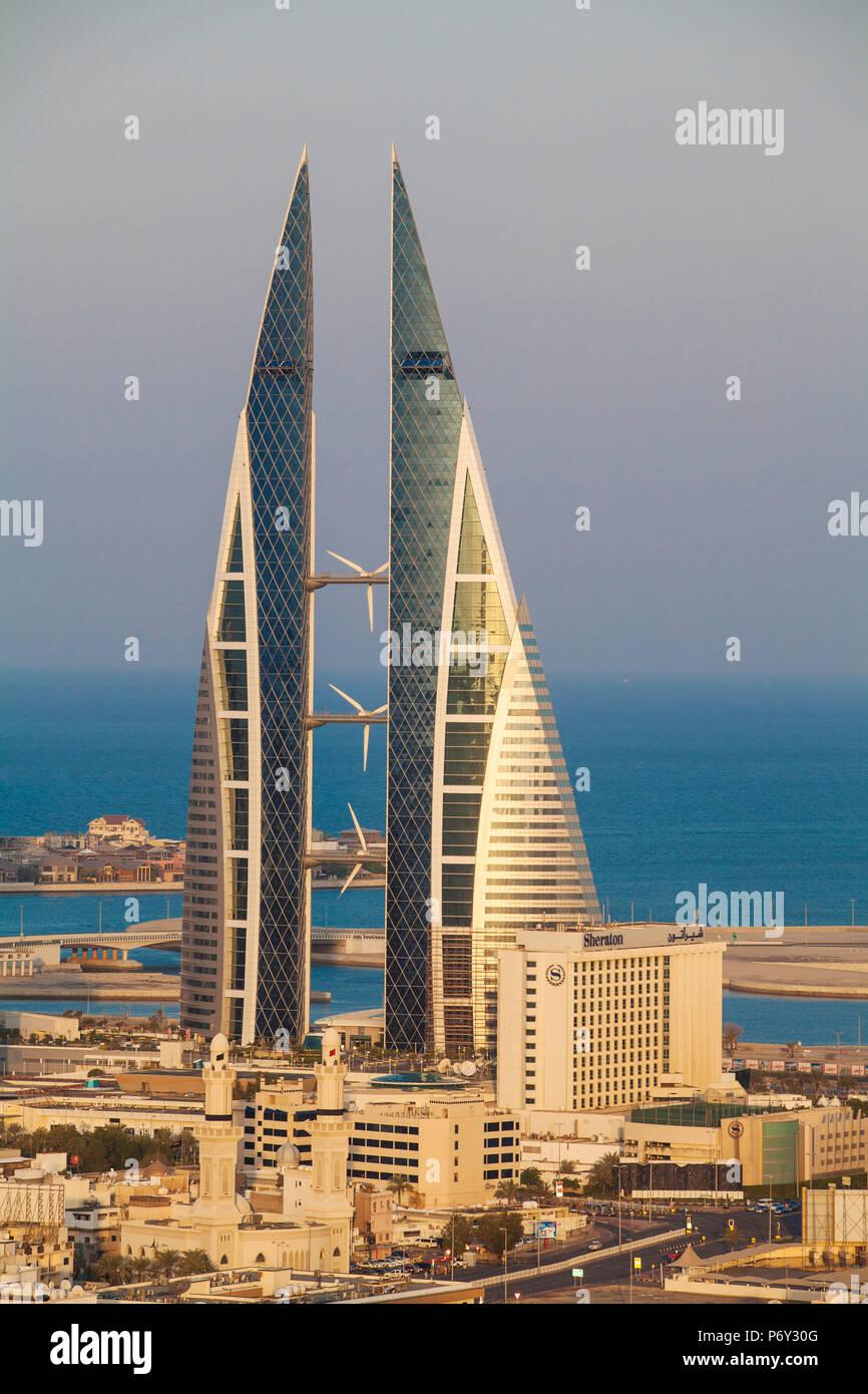 Il Bahrain, Manama, vista del Bahrain World Trade Center Immagini Stock
