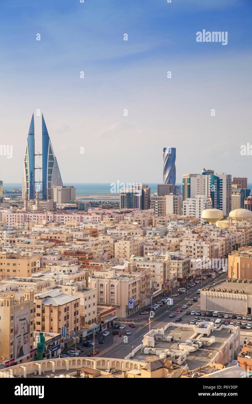 Il Bahrain, Manama, vista dello skyline della città Immagini Stock