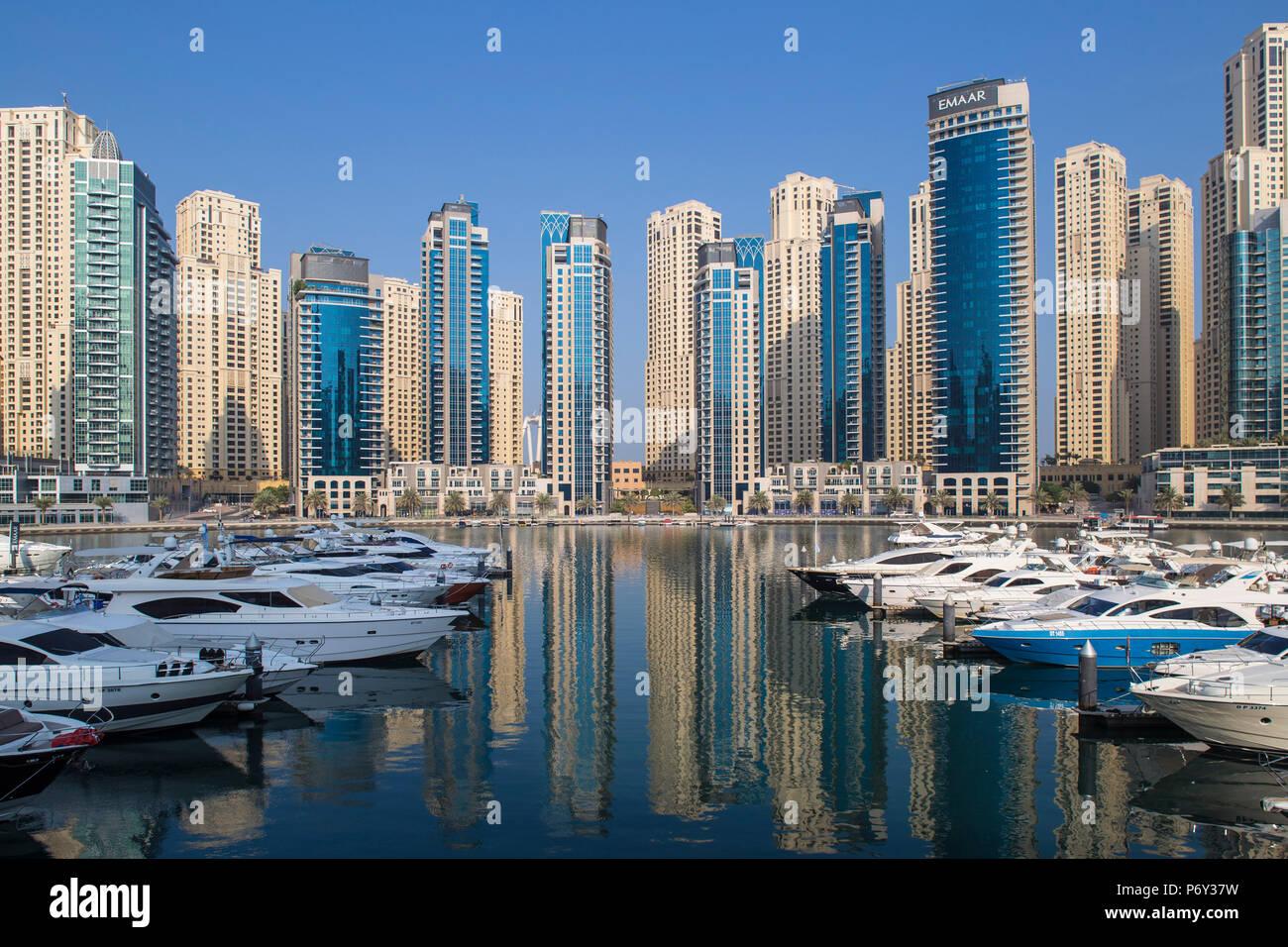 Emirati Arabi Uniti Dubai, Dubai Marina Immagini Stock