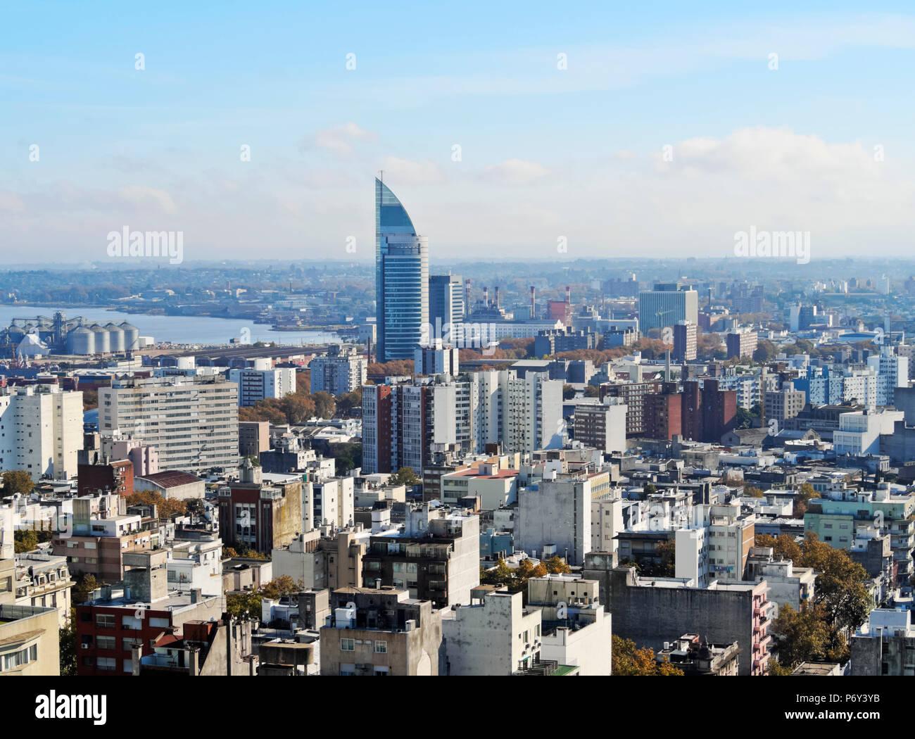 Uruguay, Montevideo, Cityscape visto dal Municipio(Intendencia de Montevideo). Immagini Stock