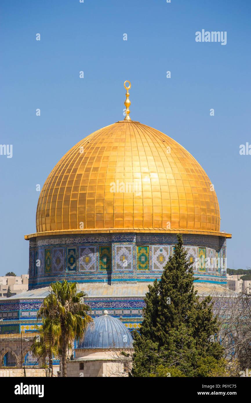 Israele, Gerusalemme, la Città Vecchia, la Montagna del Tempio e Cupola della roccia Immagini Stock