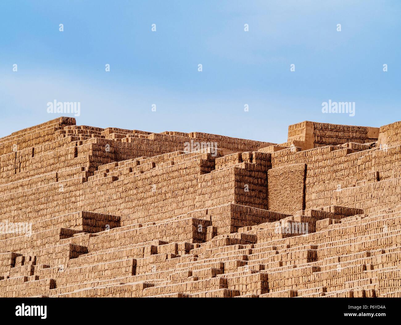 Huaca Pucllana Piramide, quartiere di Miraflores, Lima, Peru Immagini Stock