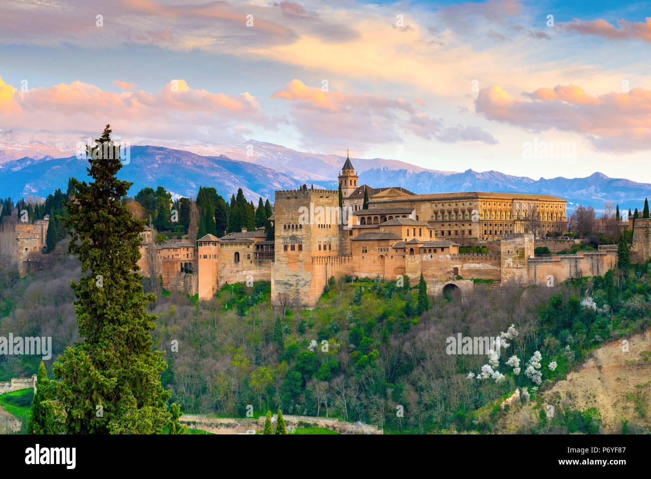 Spagna, Andalusia, Granada, Alhambra Palace Immagini Stock