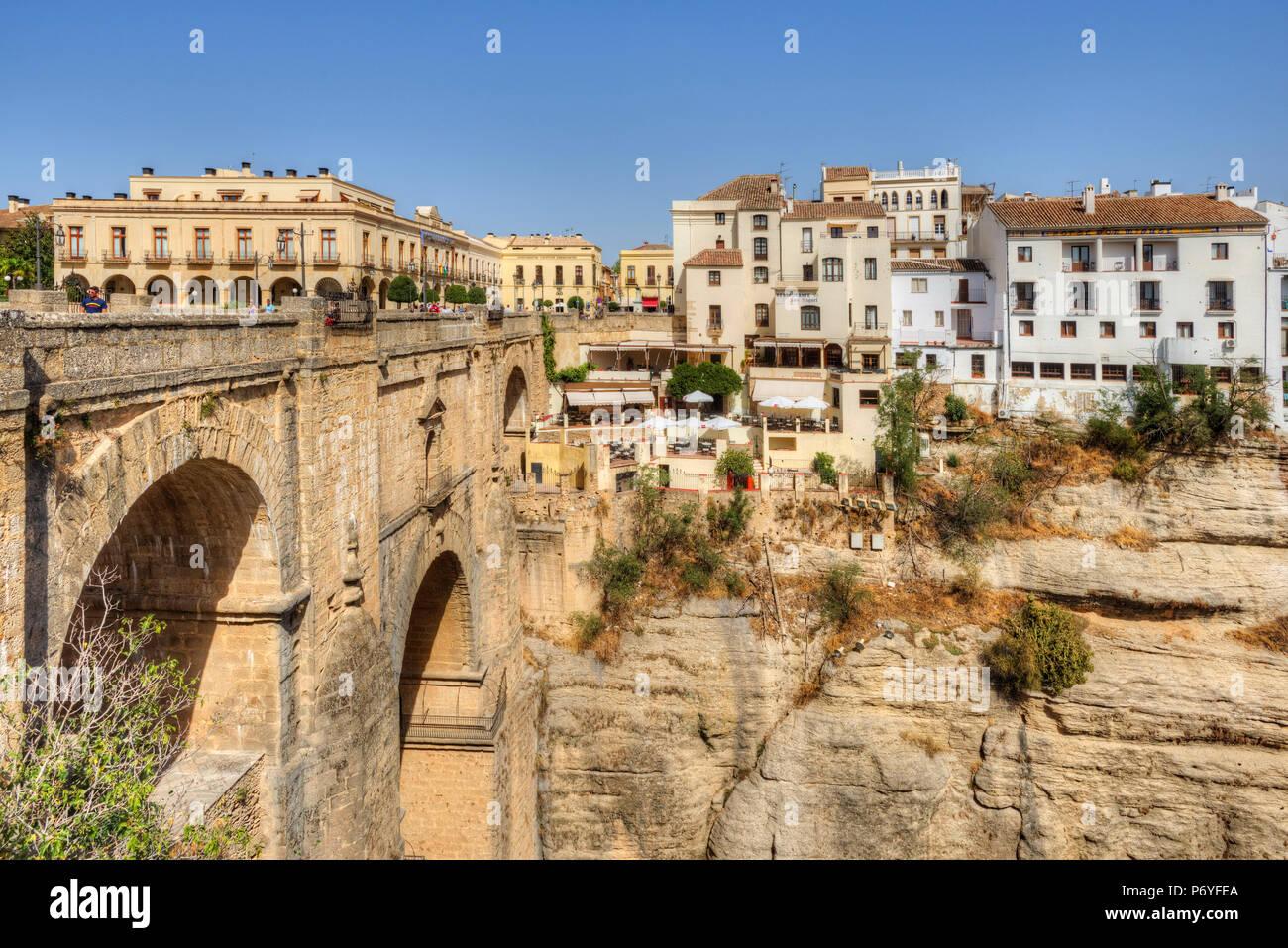 Puente Nuevo ponte sul Tago Gorge, Ronda, Andalusia, Spagna Foto Stock