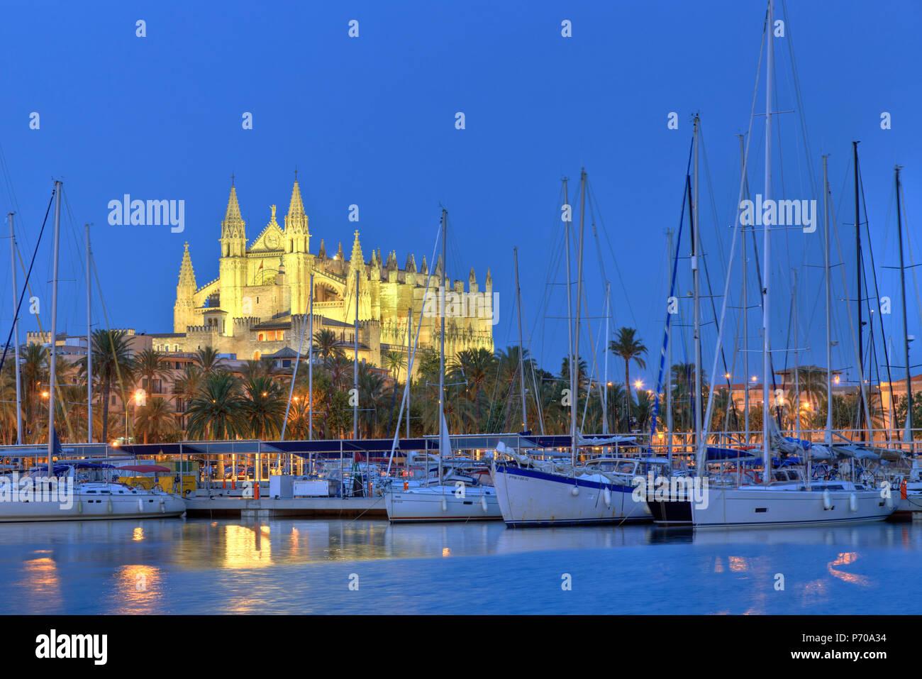 Isole Baleari Spagna, Mallorca, Palma de Mallorca, Cattedrale Immagini Stock