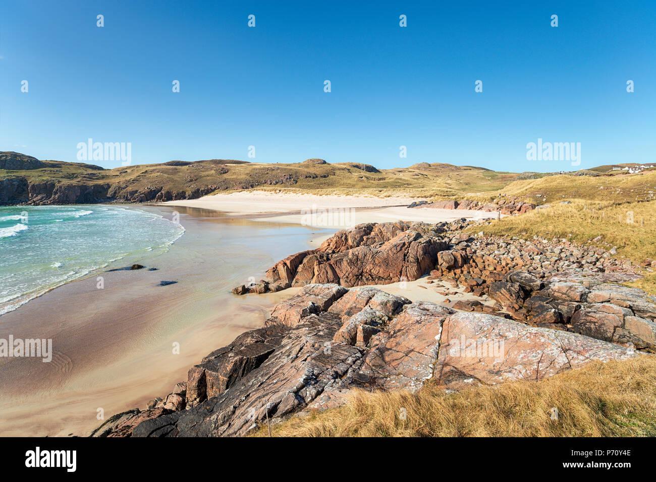 Polin spiaggia a Oldshore mendicare vicino Kinlochbervie in Sutherland nelle Highlands scozzesi Foto Stock