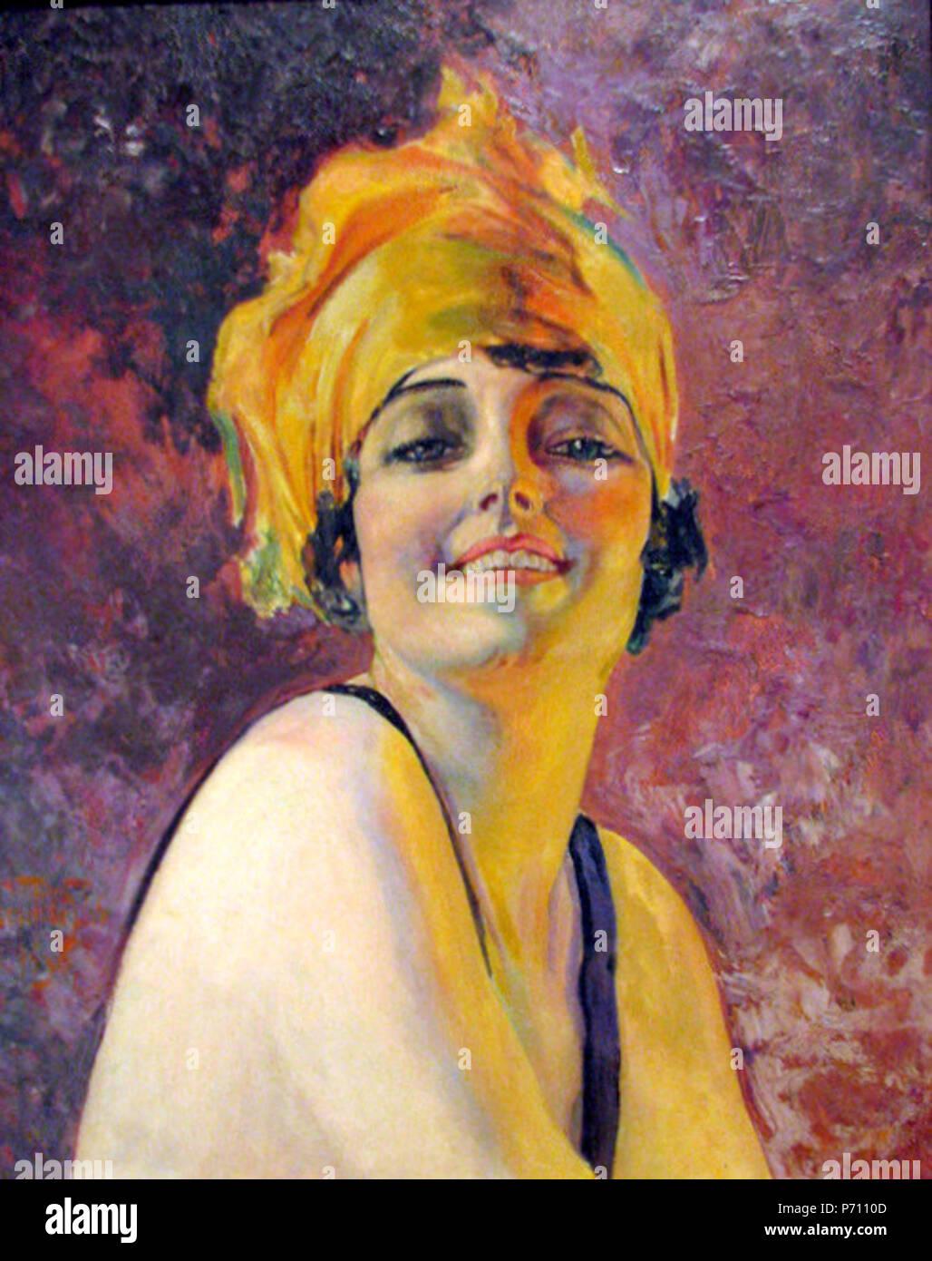. Inglese: giovane donna con un turban Português: Mulher de Turbante 1930 45 Oscar Pereira da Silva - 1930 - Mulher de turbante Immagini Stock