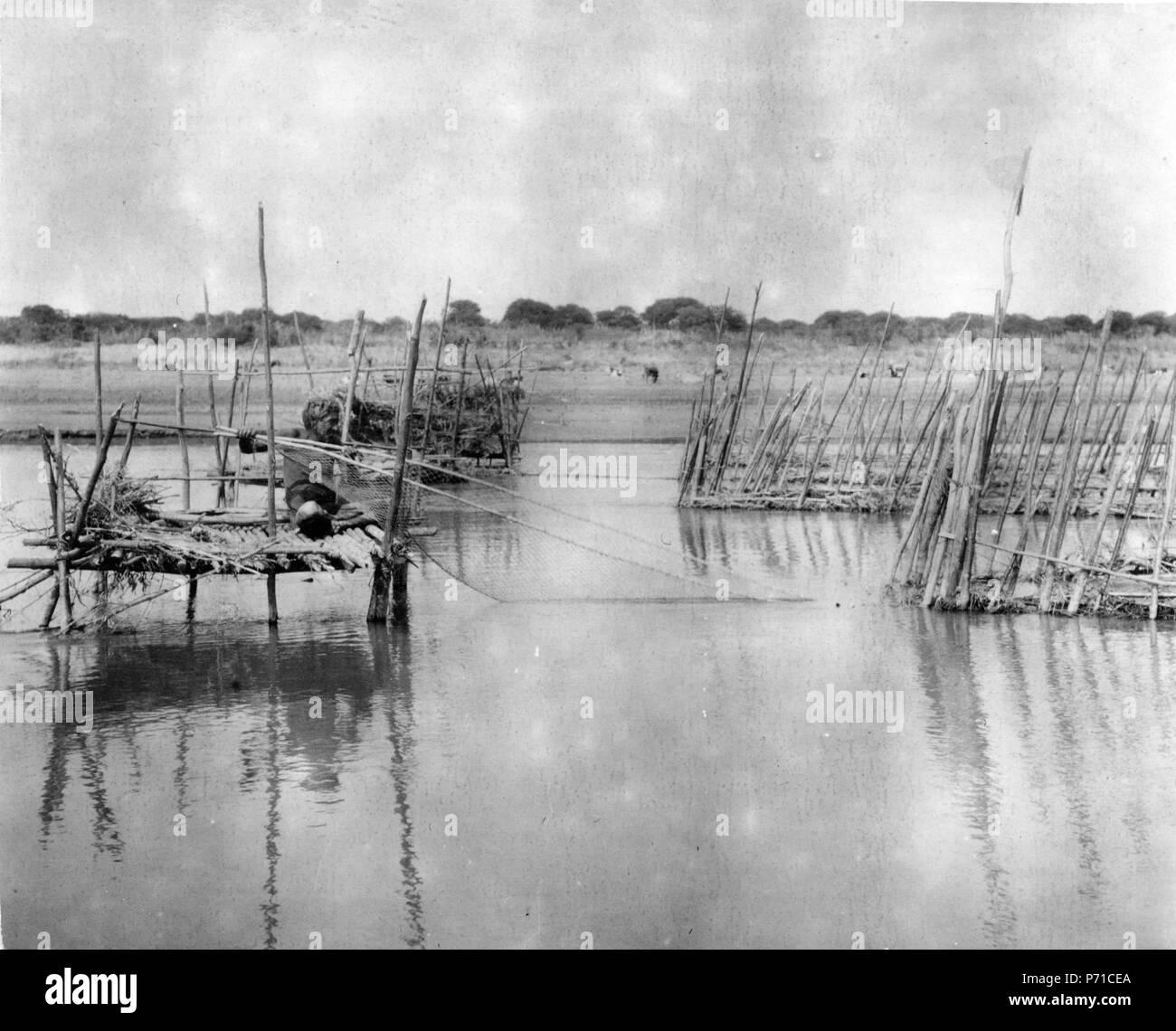 219 Ställning ho vatten, Choroti; fiskare. Gran Chaco. Bolivia - SMVK - 004808 Foto Stock