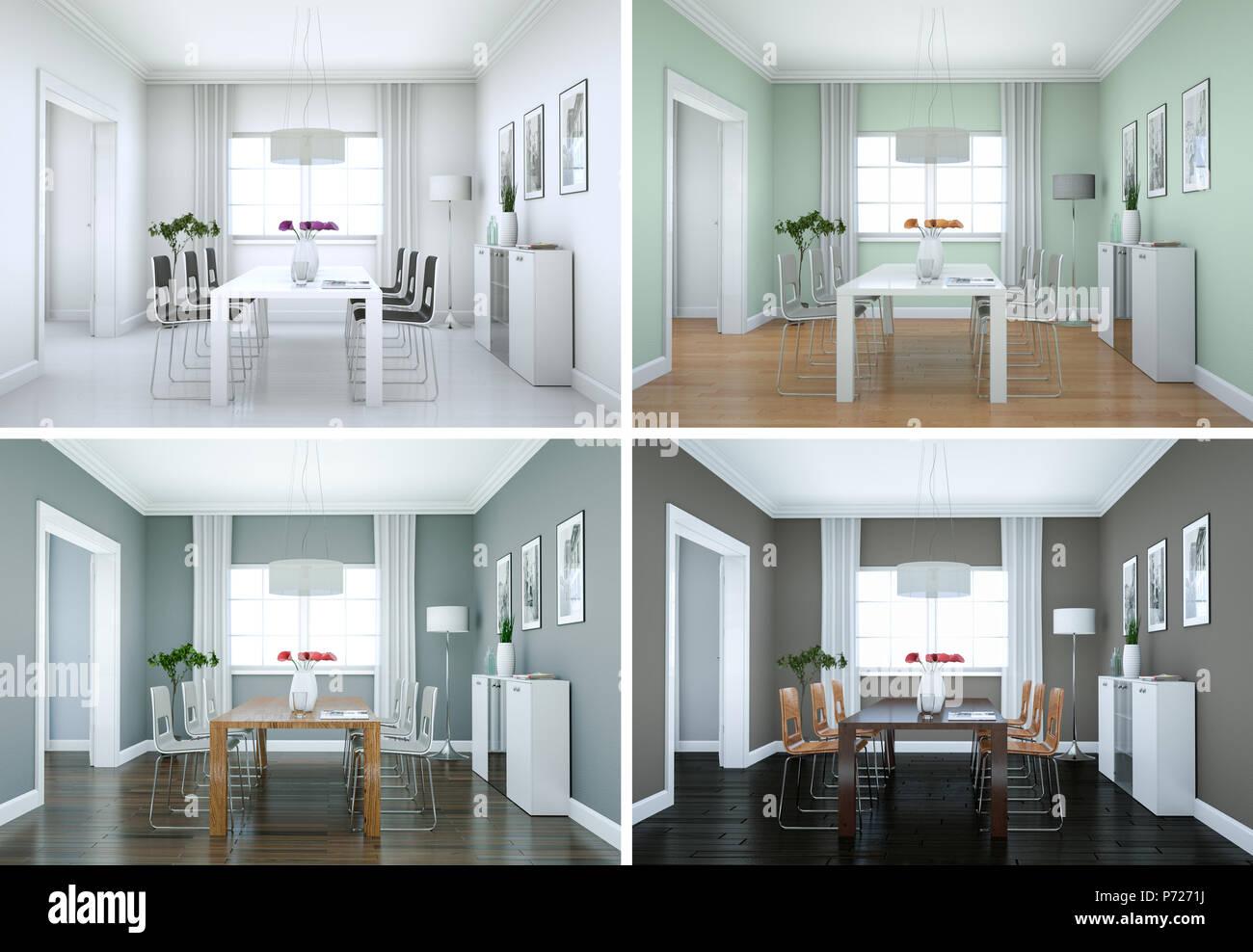 Quattro varianti di colore della sala da pranzo design ...
