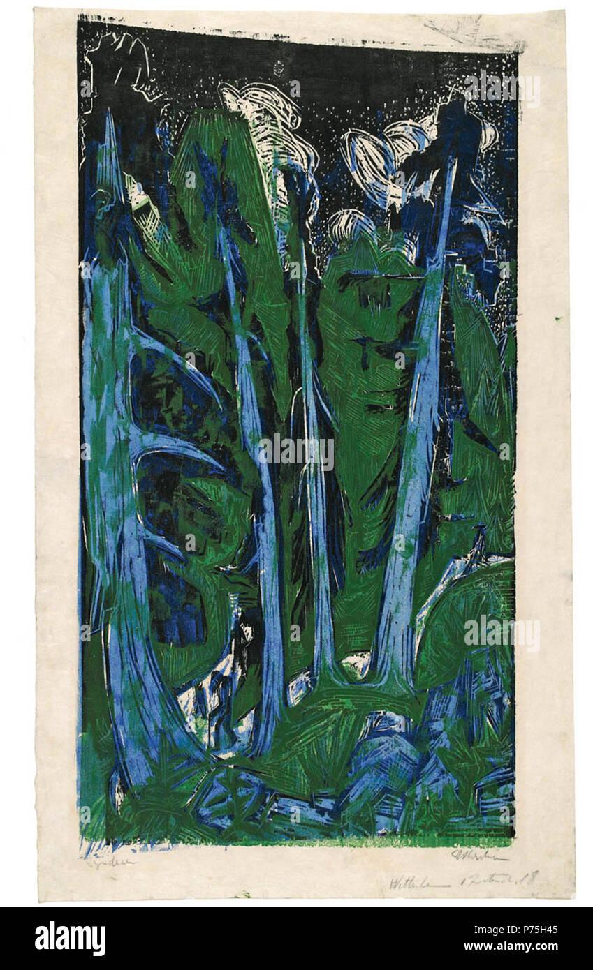 Inglese: Ventoso firs Deutsch: Wettertannen, 1919; Farbholzschnitt, 60,0 x 33,8 cm, il Kunsthaus Zürich . 1919 36 Kirchner - Wettertannen Immagini Stock