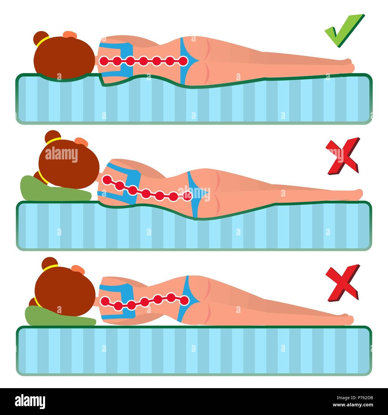 Posizione Corretta Cuscino.Materasso Ortopedico Vettore Posizione Per Dormire Il Bene