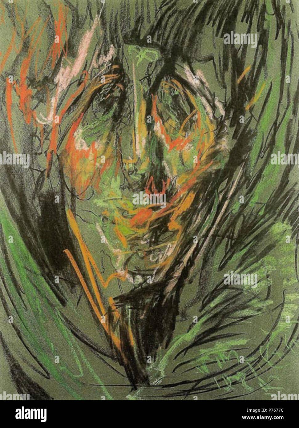 """Polski: """"Portret kobiety', pastello na papierze, 63 x 48 cm, il Muzeum Pomorza rodkowego, Supsk . 1926 4 Witkacy-Portret kobiety 3 Foto Stock"""