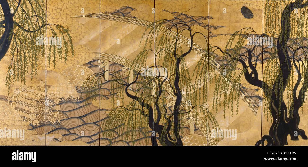 . Verniciato Six-Panel Schermo (Ponte Uji) (1800 - 1899) 2 Six-Panel dipinto di schermo (Ponte Uji) - Immagini Stock