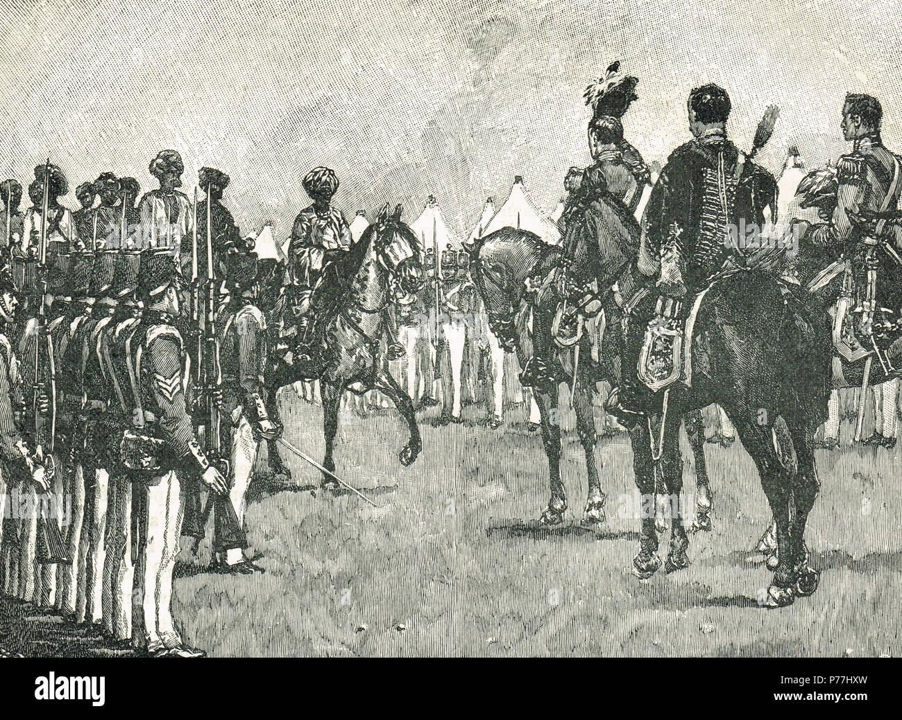 Arrivo del maharajah Duleep Singh, presso il British camp, in seguito alla battaglia di Sobraon, combattuta il 10 febbraio 1846 Immagini Stock