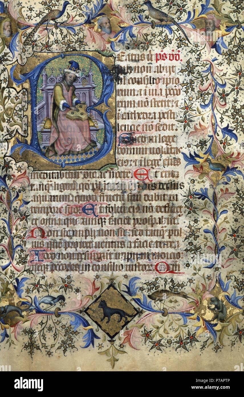 Bernat Martorell (morto nel 1452). Pittore catalano. Gotico internazionale. Manoscritto. Libro d Ore, 1444. Folio I. Archivio Storico. Barcellona. La Catalogna. Spagna. Immagini Stock