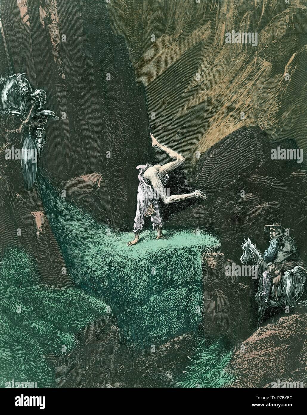 """Don Quijote:""""volvió Sancho la rienda un Rocinante y se dió por contento"""". Museo: COLECCION PARTICOLARE MADRID ESPAÑA. Immagini Stock"""