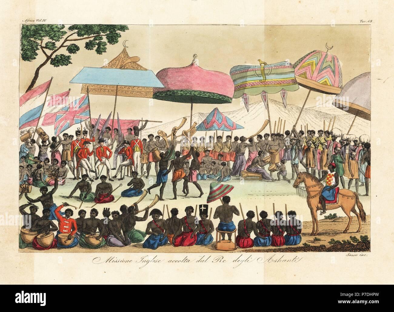 Il re degli ashanti ghana accogliente una missione inglese guidata