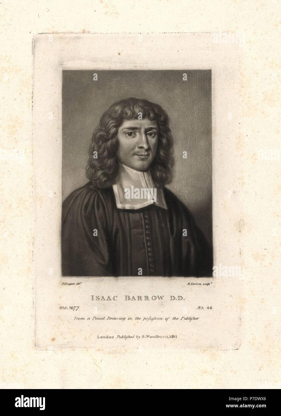Isaac Barrow Inglese Teologo E Matematico 1630 1677 Copperplate