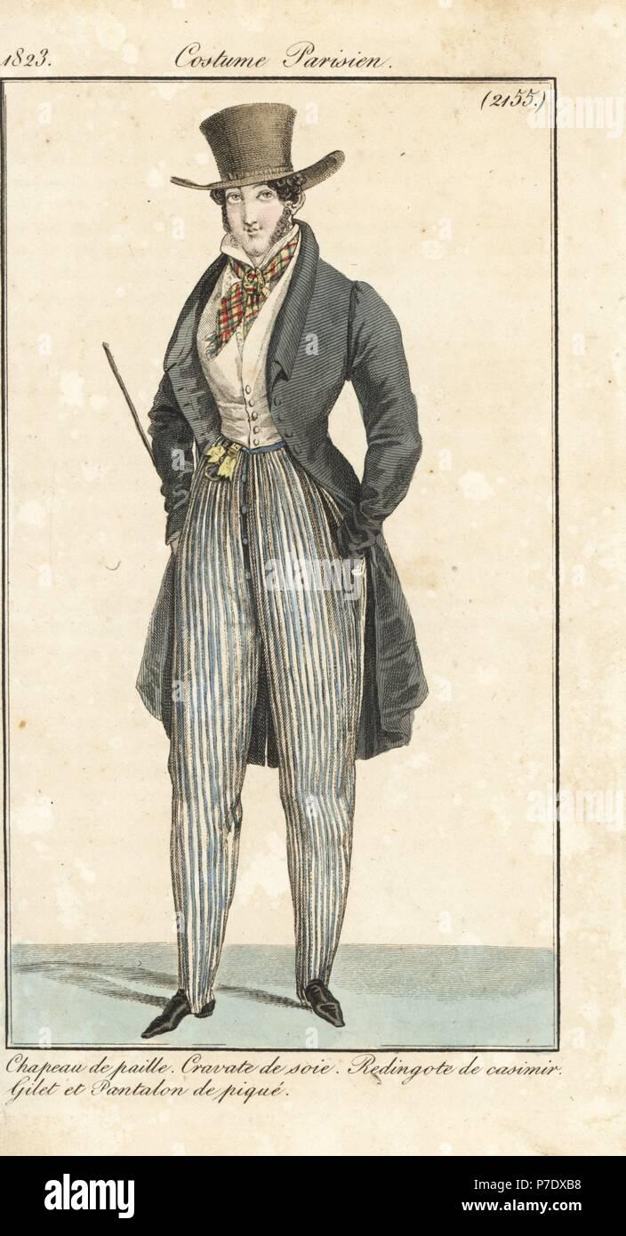 Uomo che indossa la moda del 1823  cappello di paglia 1139ba096adb