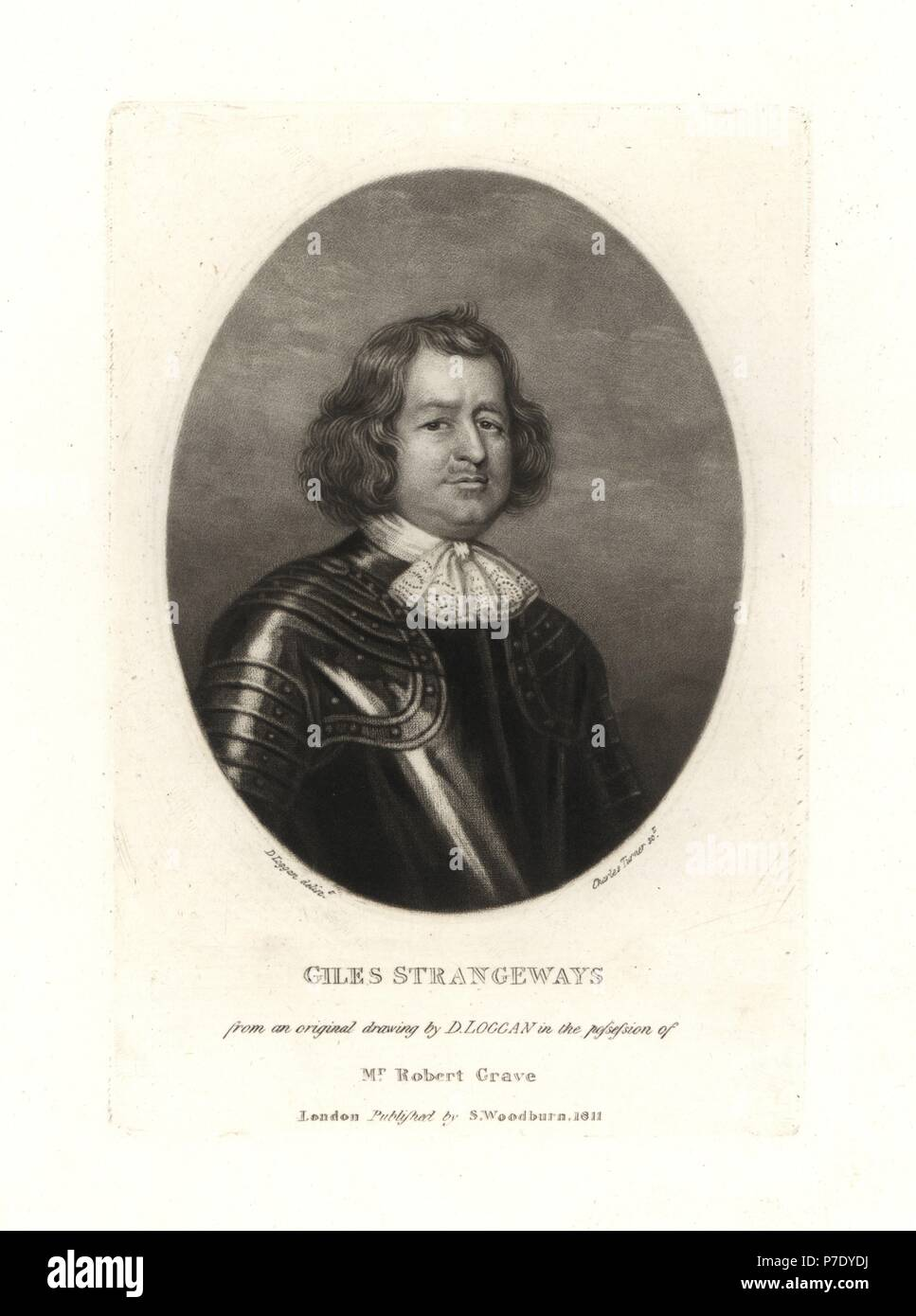 Giles Strangeways Royalist Politico Morì 1675 Copperplate