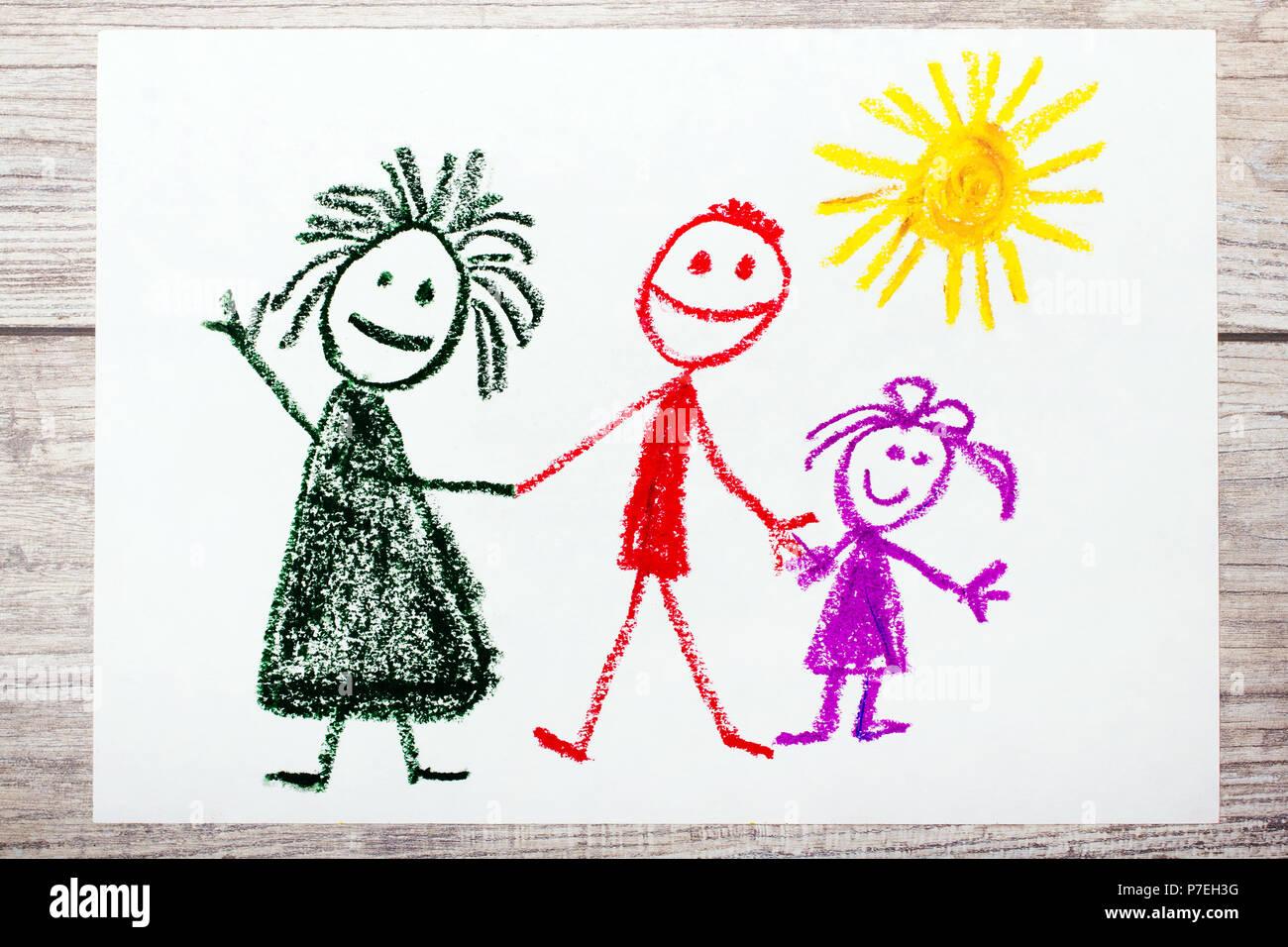 Mamma E Figlia Disegno.Foto Di Colorato Disegno A Mano Famiglia Felice Madre Padre E