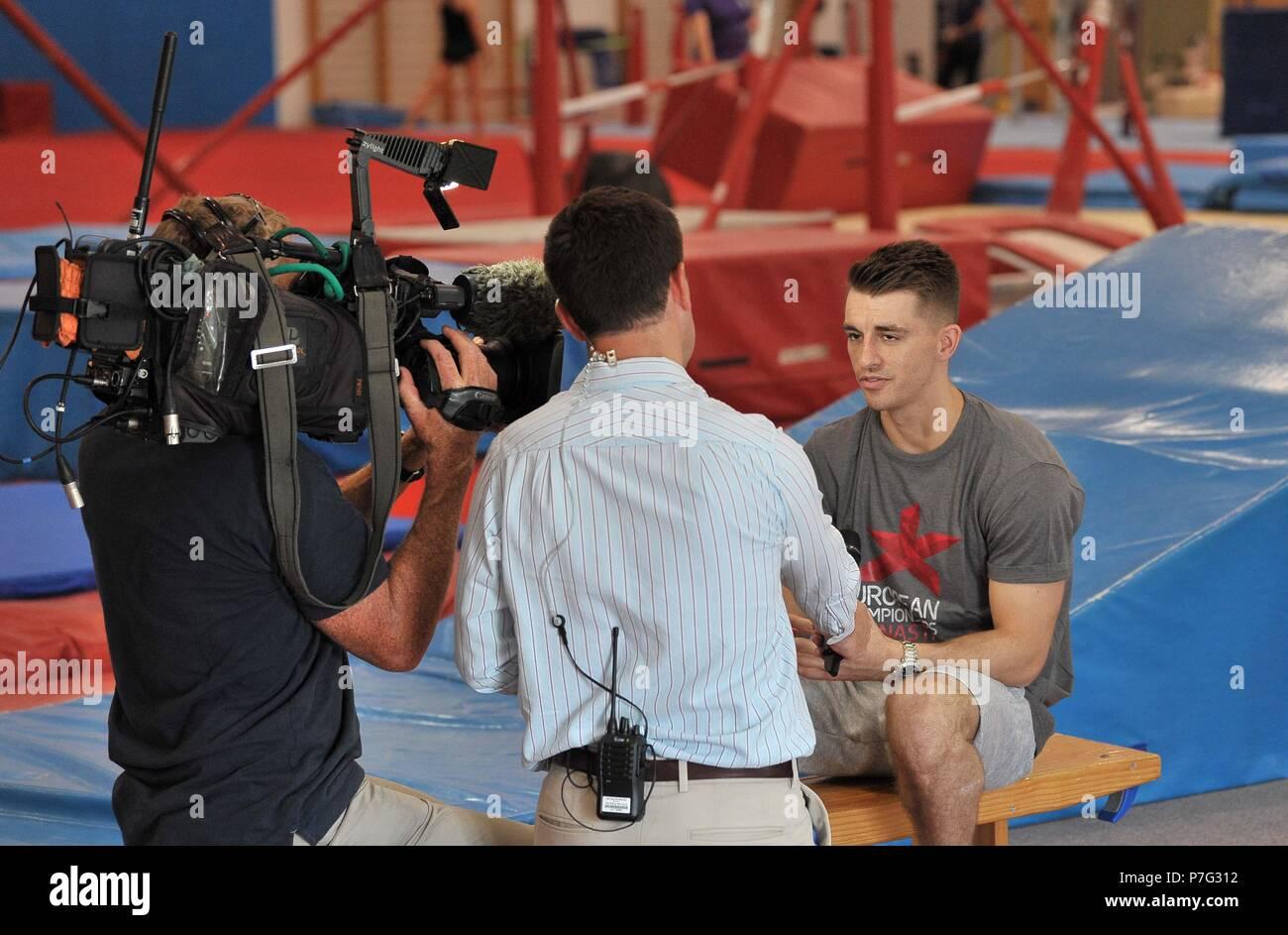 Basildon, Regno Unito. 6 luglio 2018. Max Whitlock. Glasgow 2018 Ambasciatore di ginnastica. South Essex club di ginnastica. Basildon. Essex. Regno Unito. 06/07/2018. Credito: Sport In immagini/Alamy Live News Foto Stock