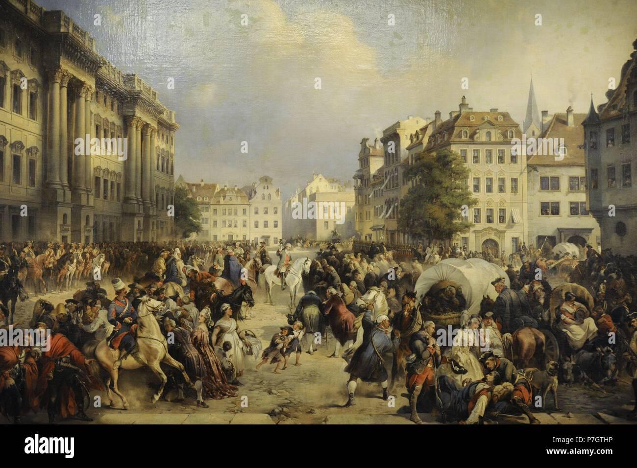 Alexander Kotzebue (1815-1889). Pittore tedesco. La cattura di Berlino il 28 settembre 1760, 1849. Lo stato Museo Hermitage. San Pietroburgo. La Russia. Foto Stock