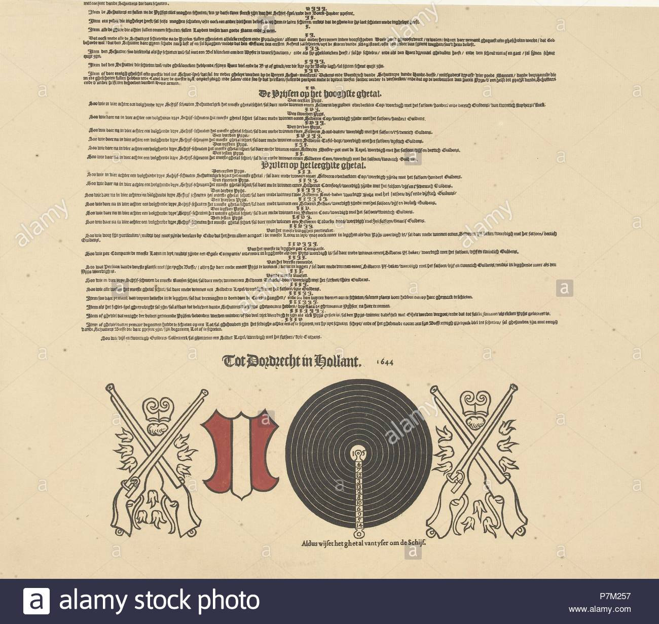 Registro chiamate per il tiro al bersaglio e lotteria in Kloveniersdoelen Dordrecht nel 1644 (metà inferiore), anonimo, 1800 - 1899. Immagini Stock