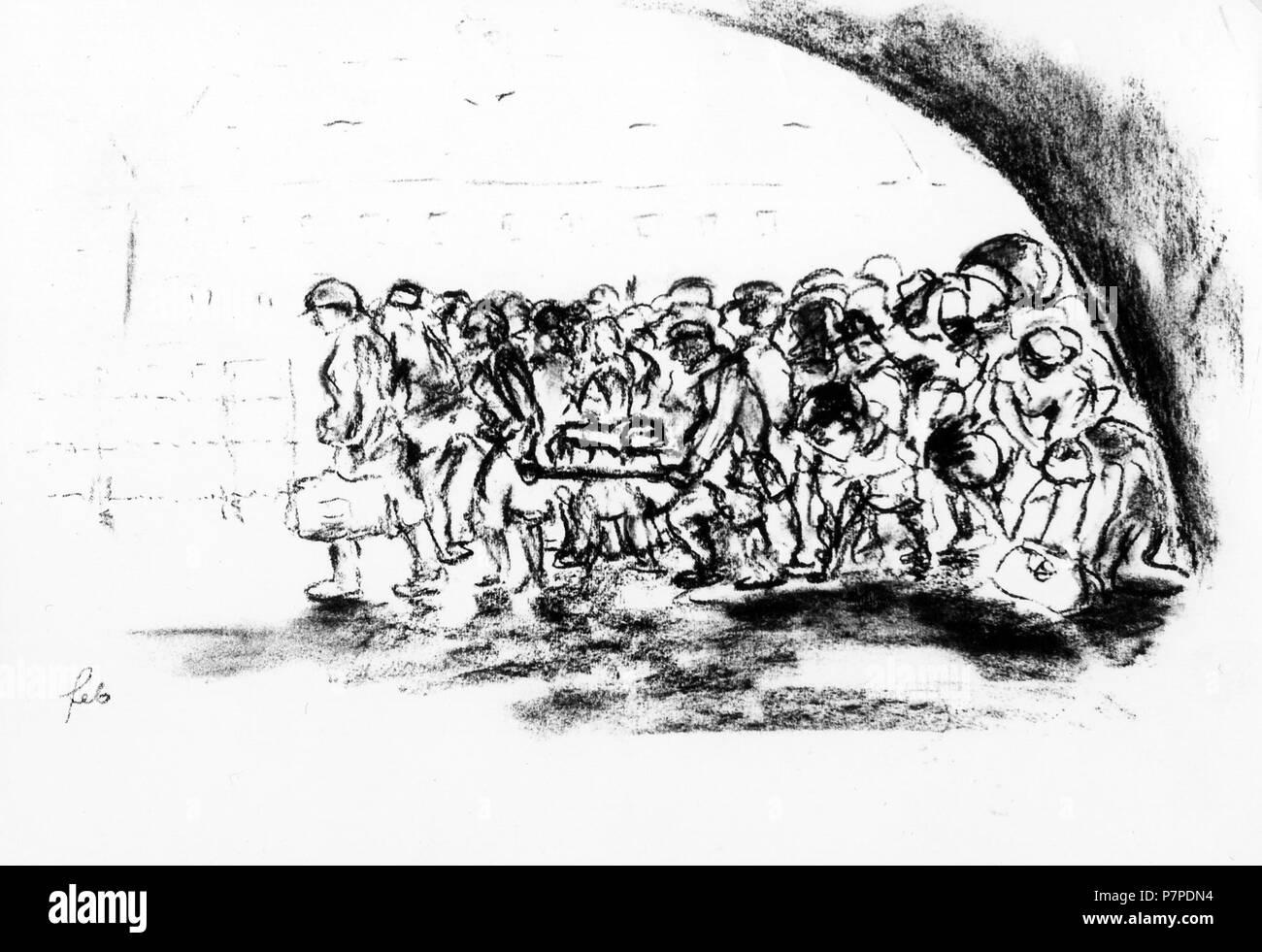 Gouache pittura dal ghetto di Theresienstadt . tra il 1942 e il 1944 11 un trasporto arriva nel (Terezin Theresienstadt ghetto) Immagini Stock