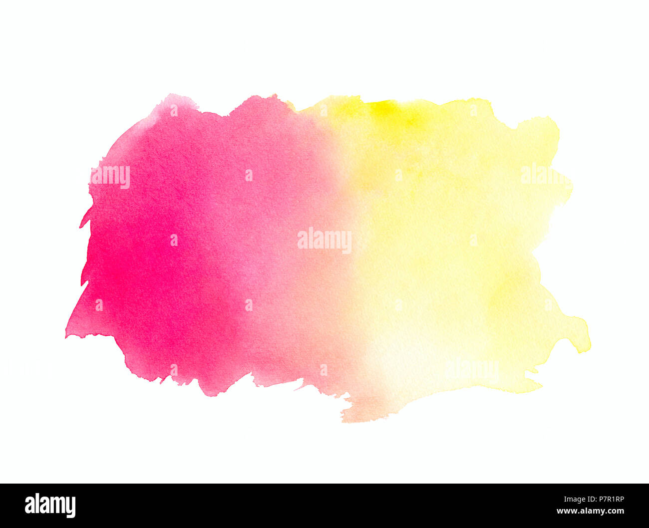 Abstract Rosa Rosso Giallo Acquerello Su Sfondo Biancoil Colore