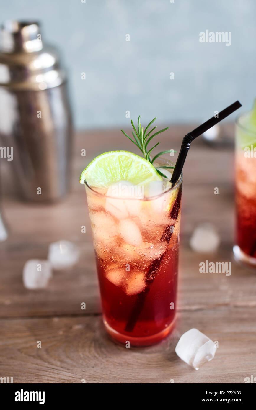 Lo Sloe gin Fizz Cocktail. Rosa alcol freddo bevande con ghiaccio, calce e soda, copia dello spazio. Immagini Stock