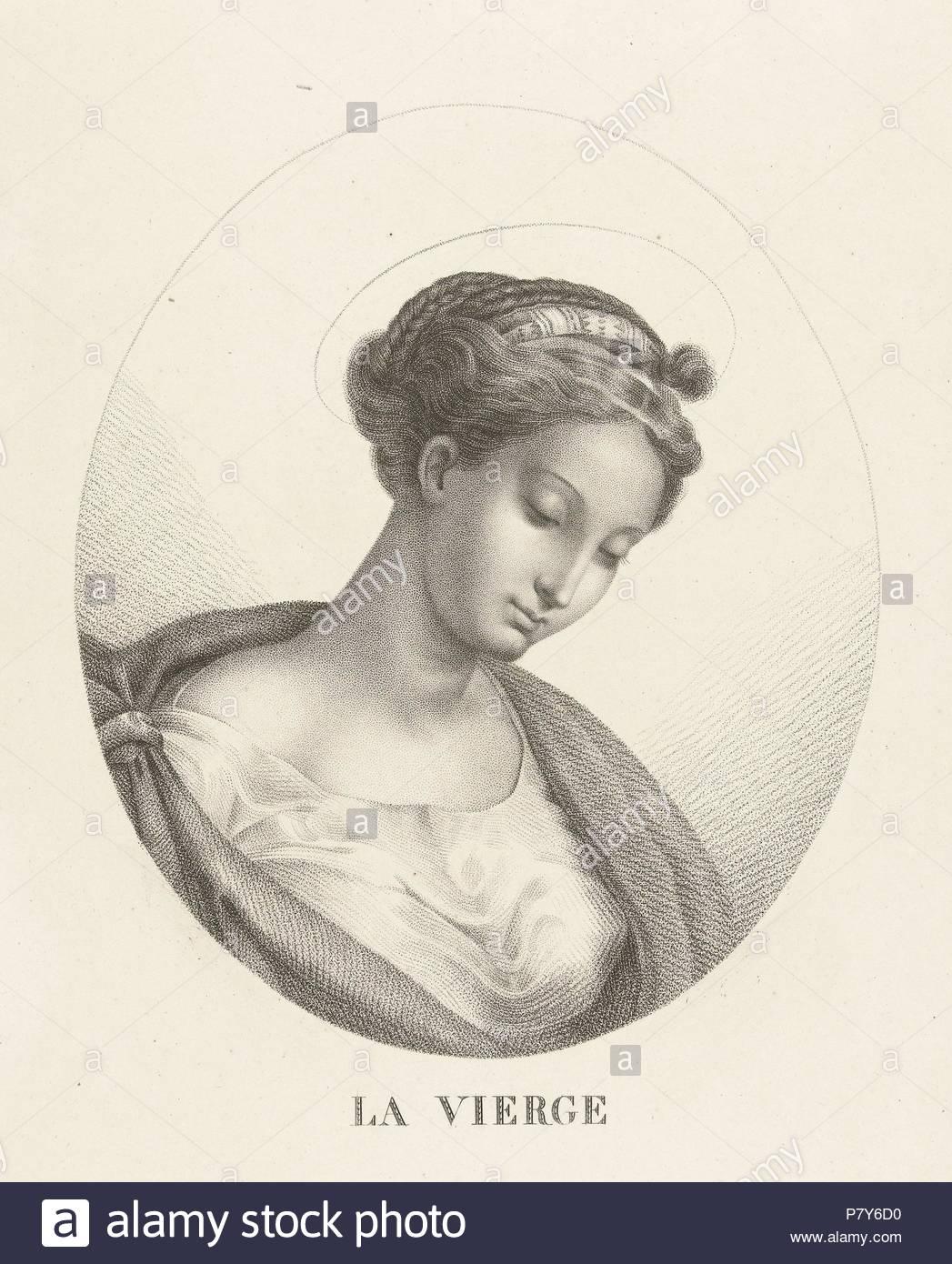 Busto di Maria in ovale, François Deleu, 1800 - 1899. Immagini Stock