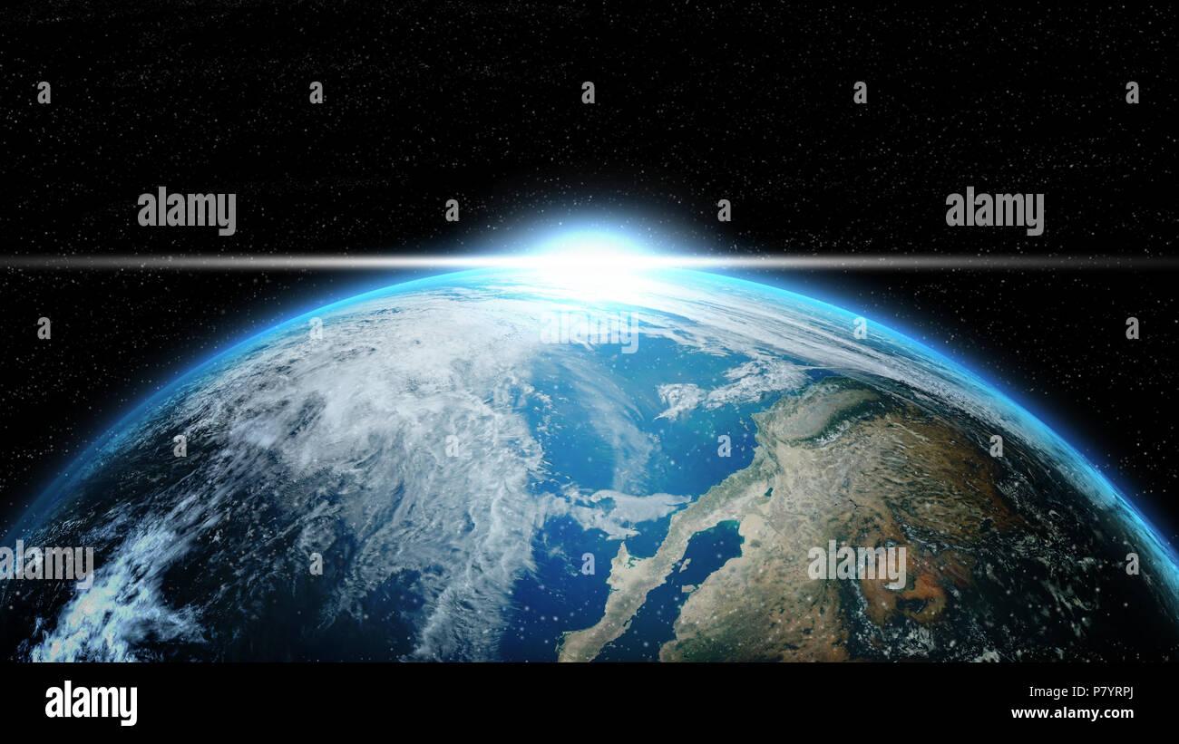 La terra nello spazio profondo con illuminazione solare. gruppo di