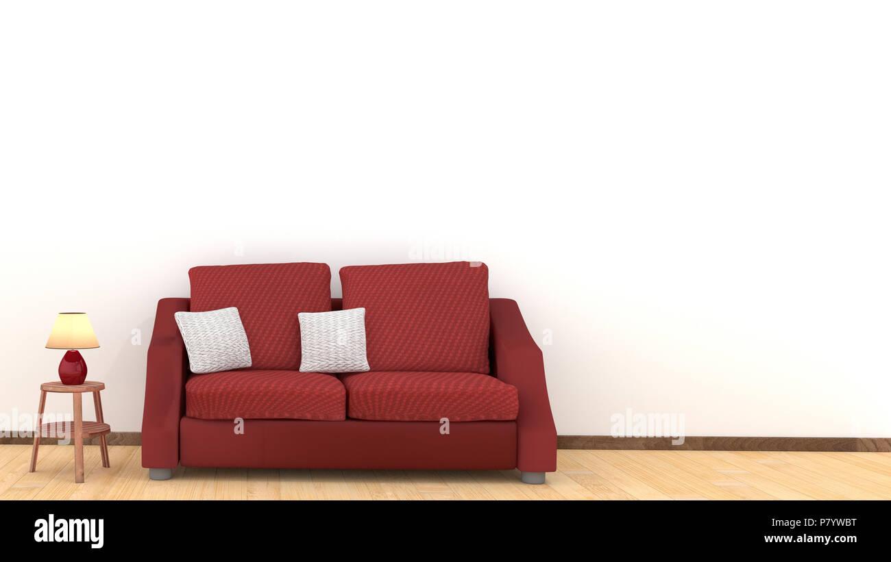 Divano Rosso Cuscini : Interni dal design moderno di salotto con divano rosso sul