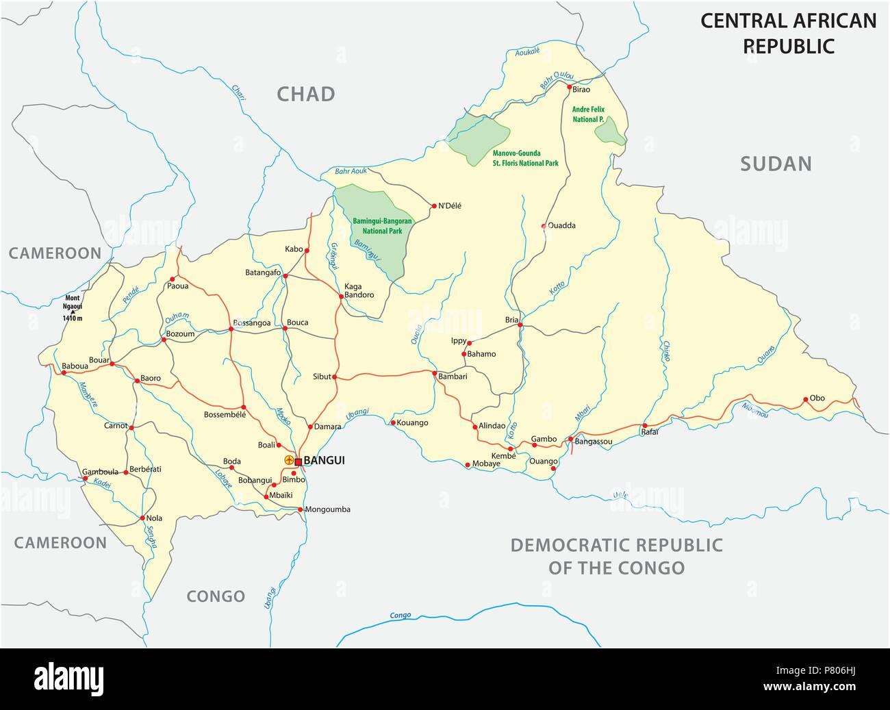 Repubblica centrafricana road mappa vettoriale Immagini Stock