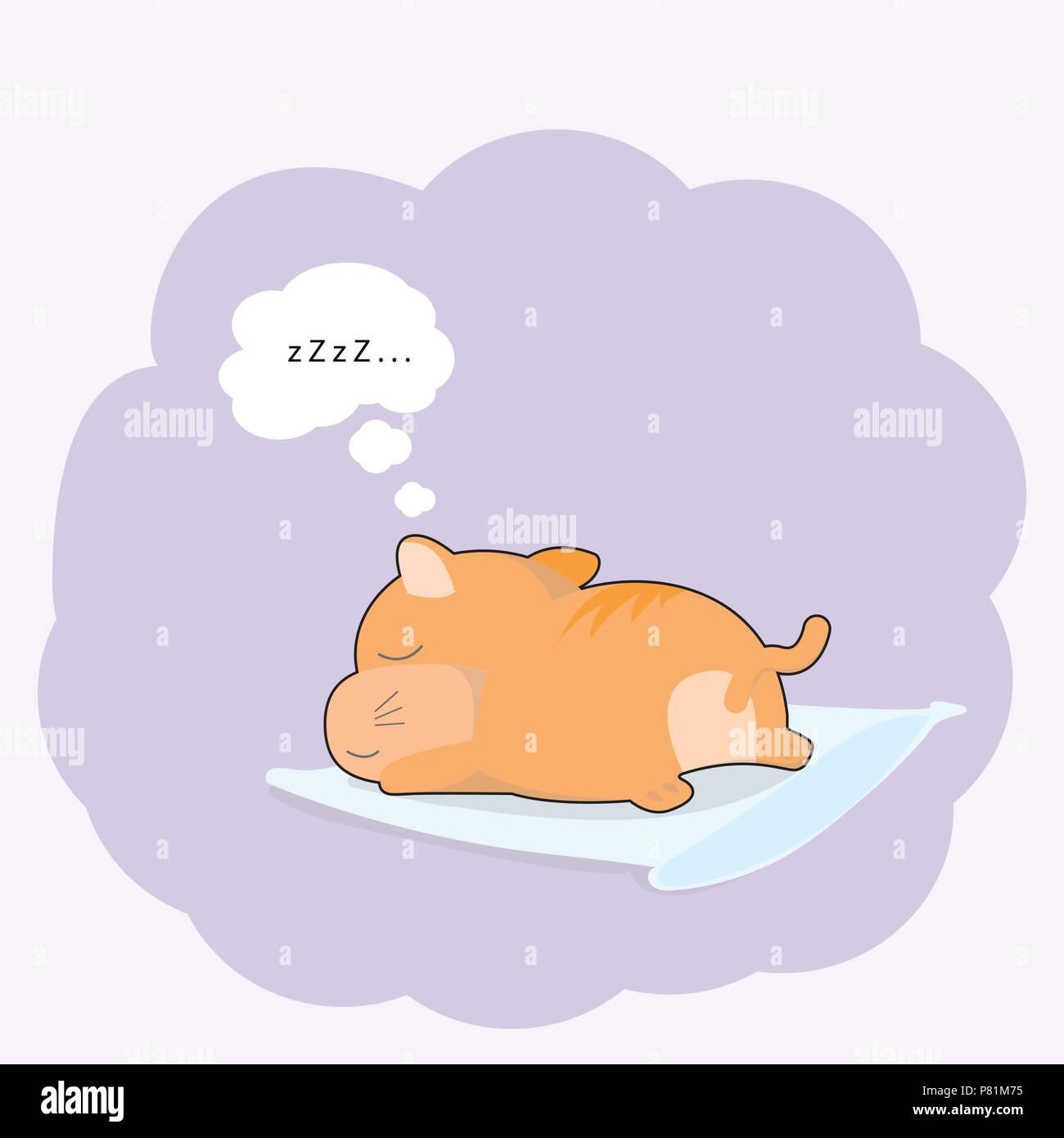 Carino bambino gatto dorme sul cuscino in stile cartone animato. t