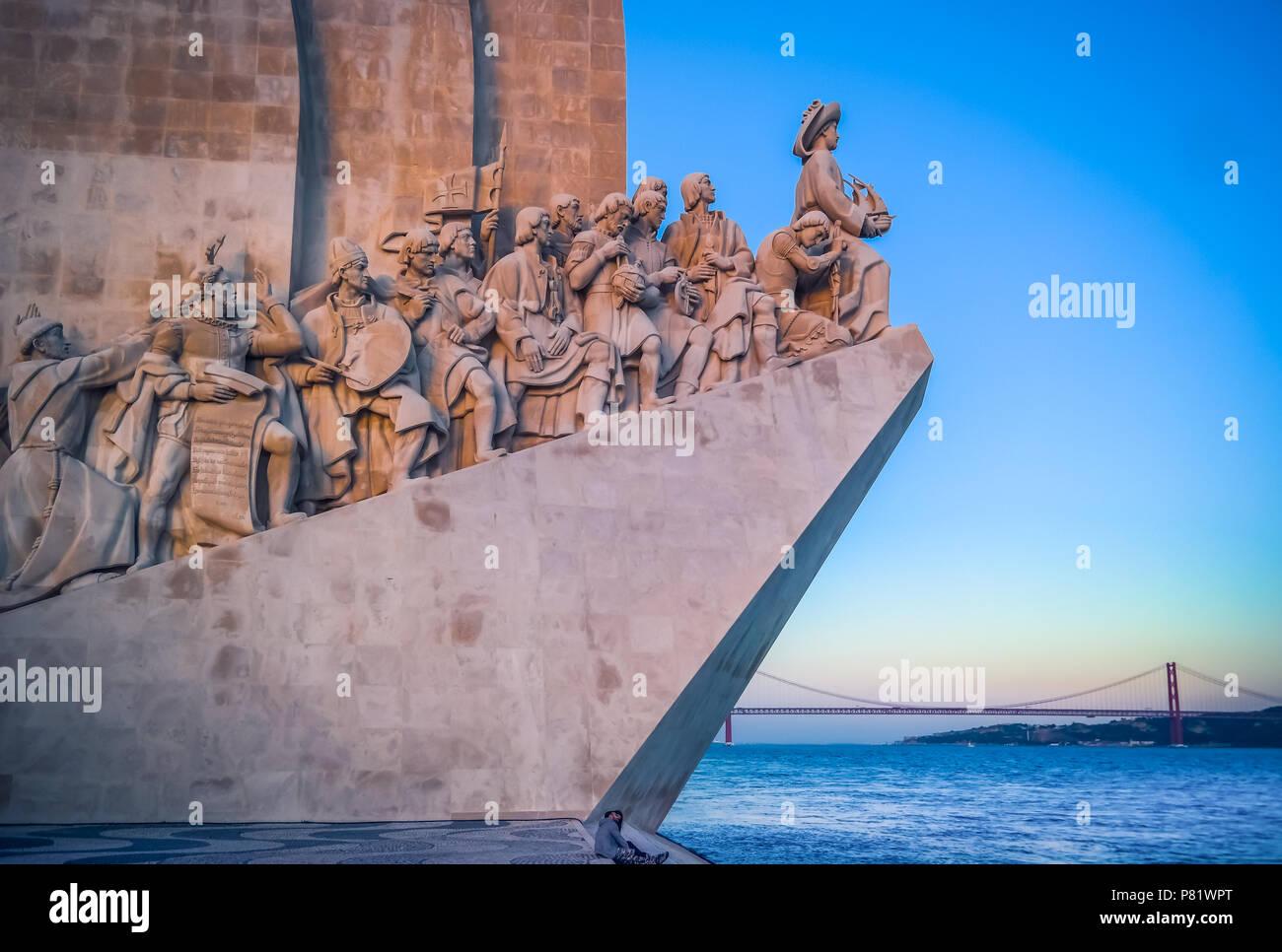 Lisbona, Portogallo, il Monumento delle Scoperte, Padrão dos Descobrimentos Immagini Stock