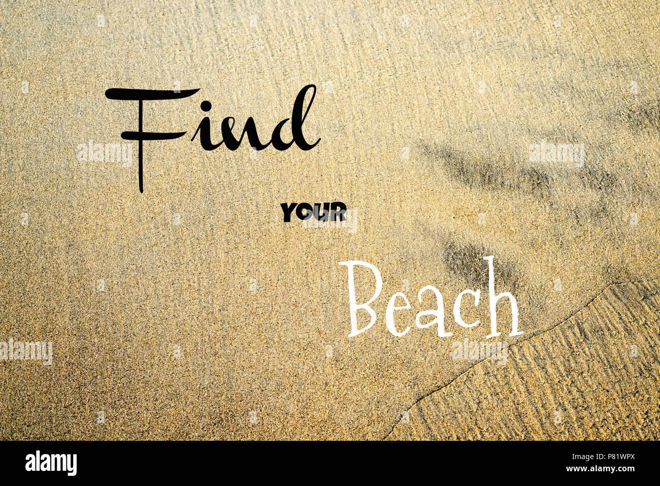 Parole (tipografia) posto su una fotografia sullo sfondo di una spiaggia della California. Immagini Stock