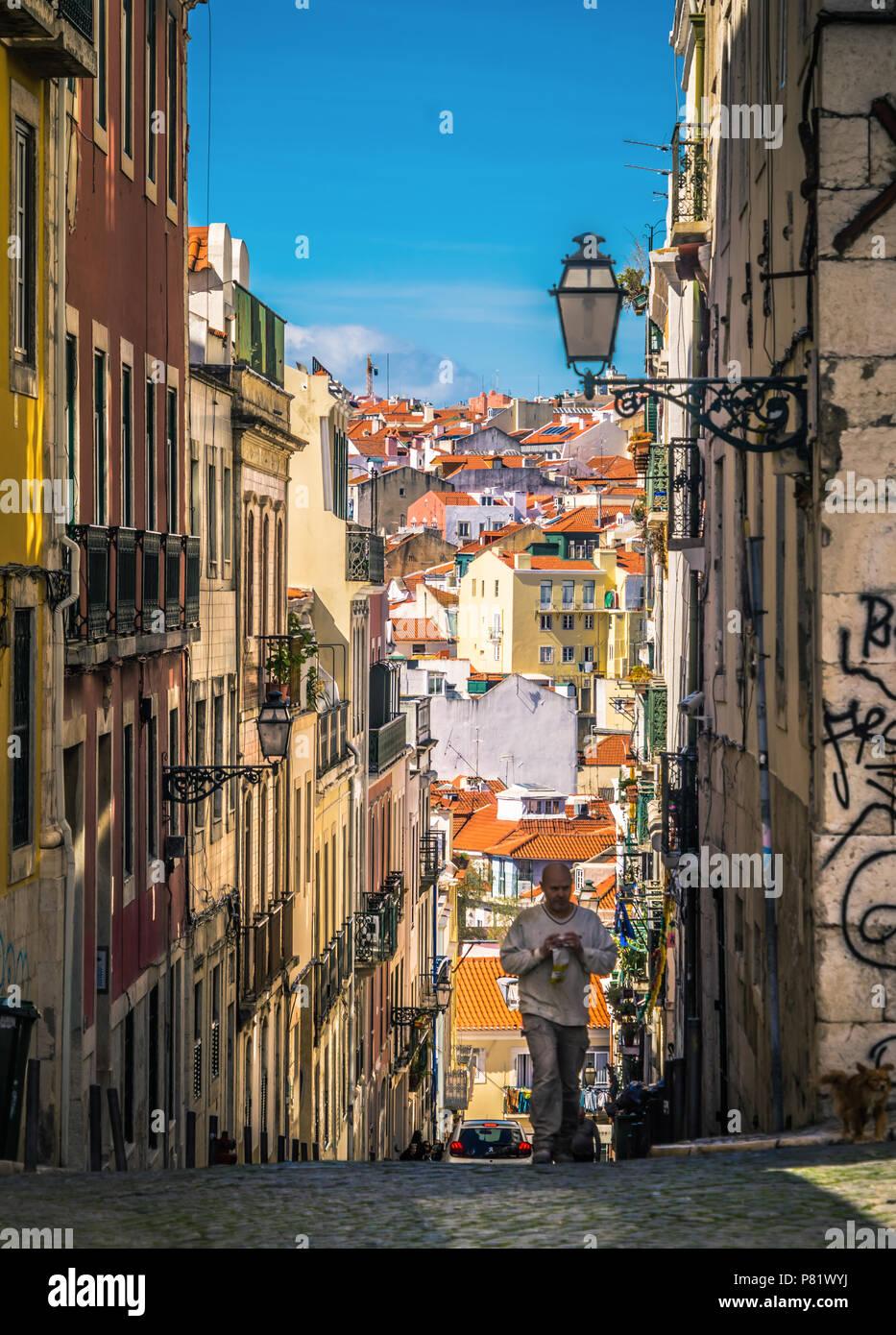 Lisbona, Portogallo, Street nel quartiere Bairro Alto Immagini Stock