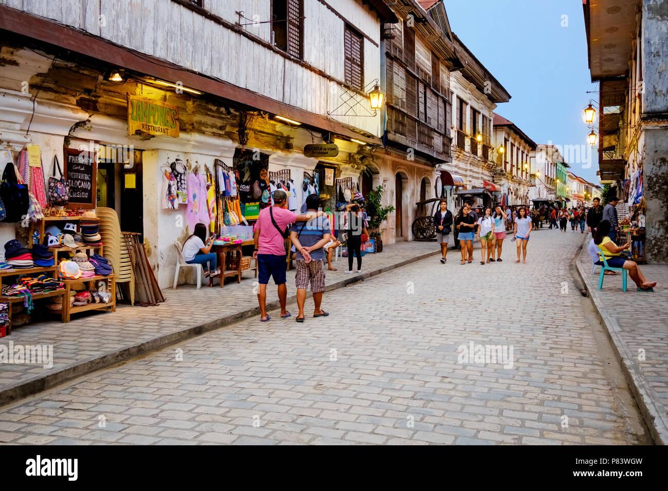 La pittoresca del XVI secolo città coloniale spagnola di Vigan nelle Filippine con le sue strade di ciottoli Immagini Stock