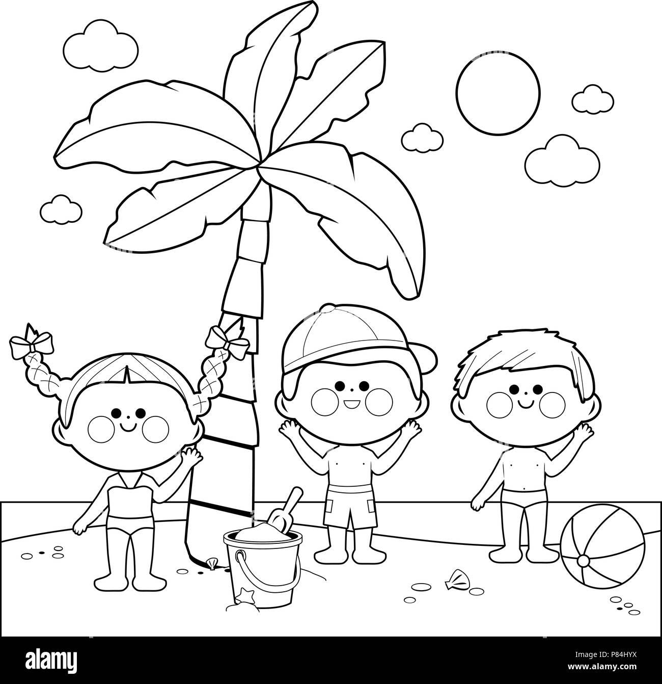 Bambini In Spiaggia A Giocare Sotto Una Palma In Bianco E Nero La Colorazione Di Pagina Del Libro Immagine E Vettoriale Alamy