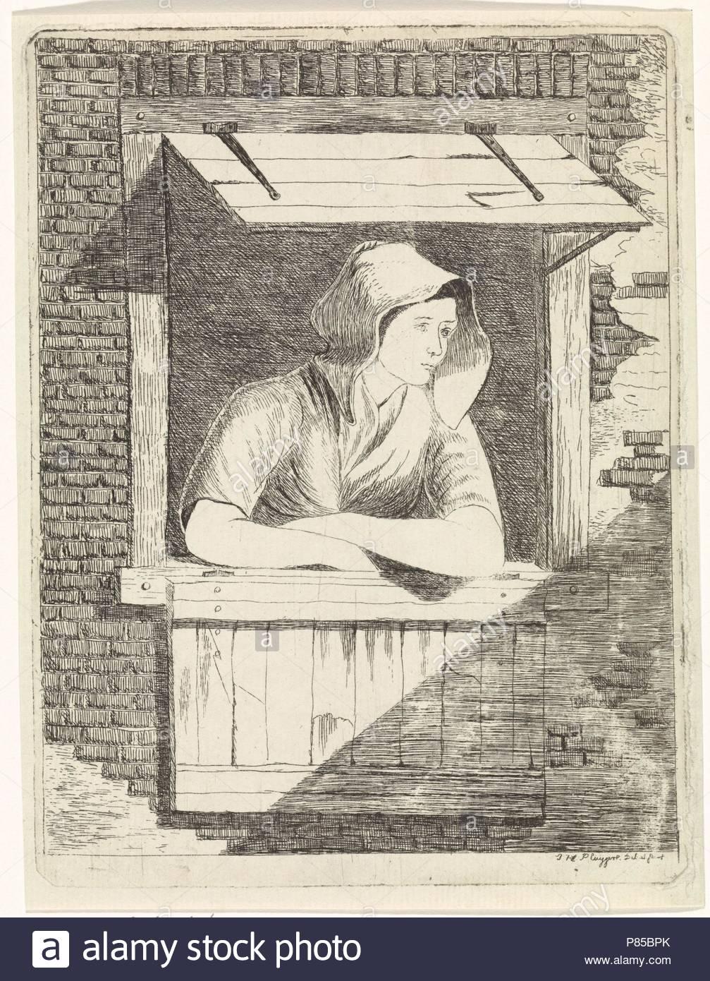 Una donna con un cappuccio sulla testa appoggiata fuori una finestra con persiane orizzontali, stampa maker: J.H. Pluygers (menzionato in oggetto), risalente 1800 - 1899. Immagini Stock