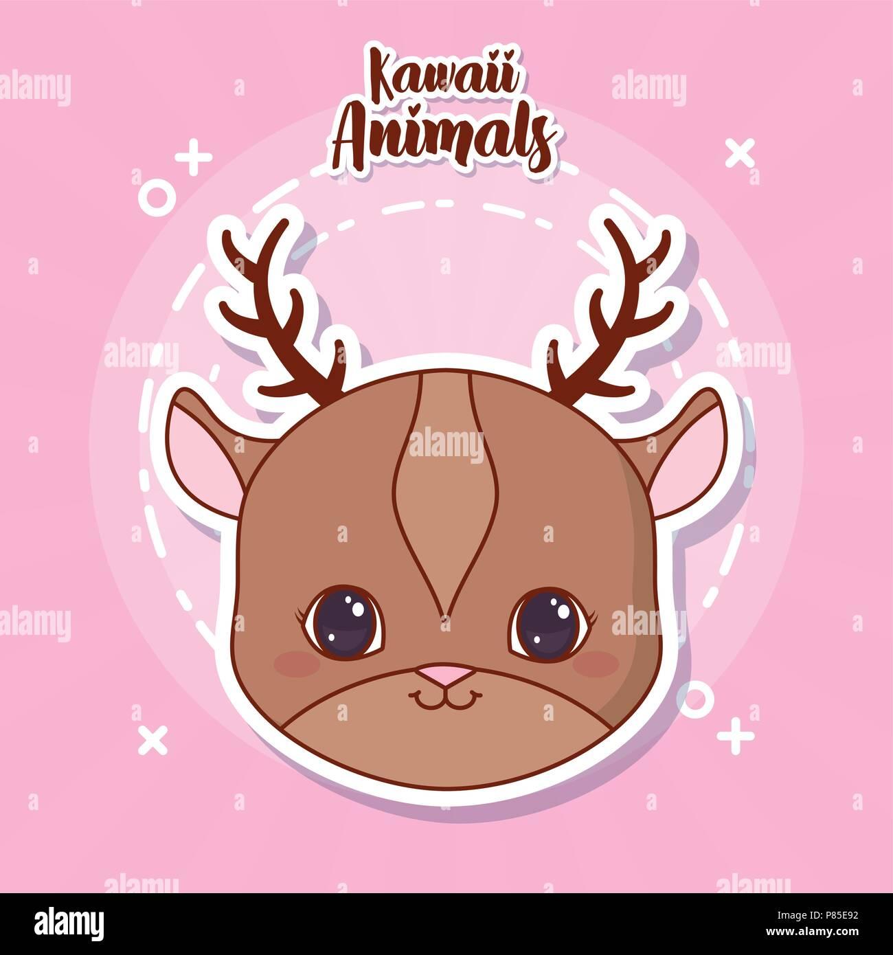 Kawaii Icona Di Cervo Su Sfondo Rosa Design Colorato Illustrazione