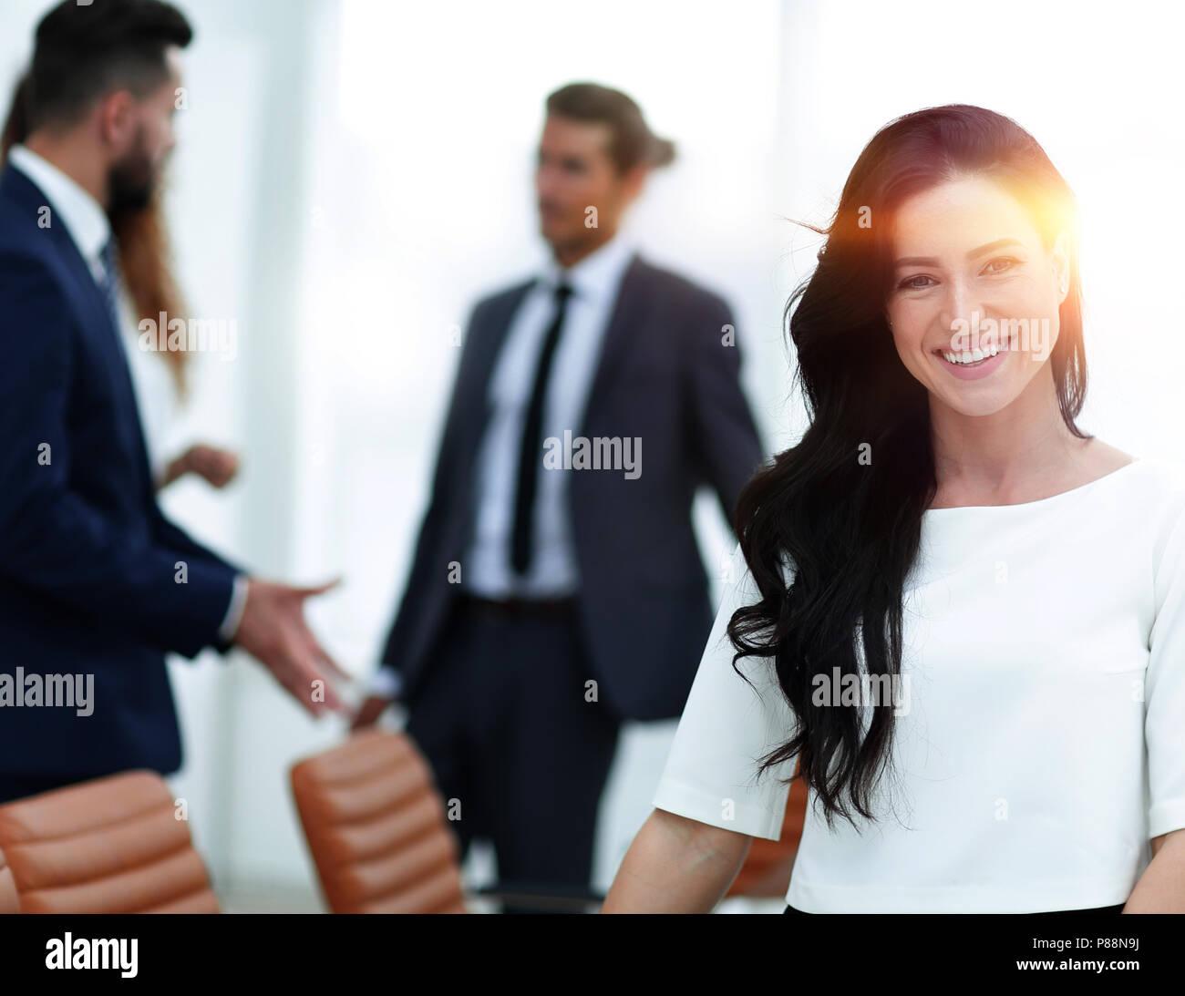 Primo piano. Donna Executive in ufficio Immagini Stock