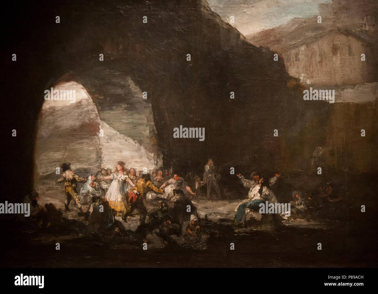 Francisco de Goya y Lucientes - Fiesta popolare bajo onu puente (1808-12) Immagini Stock