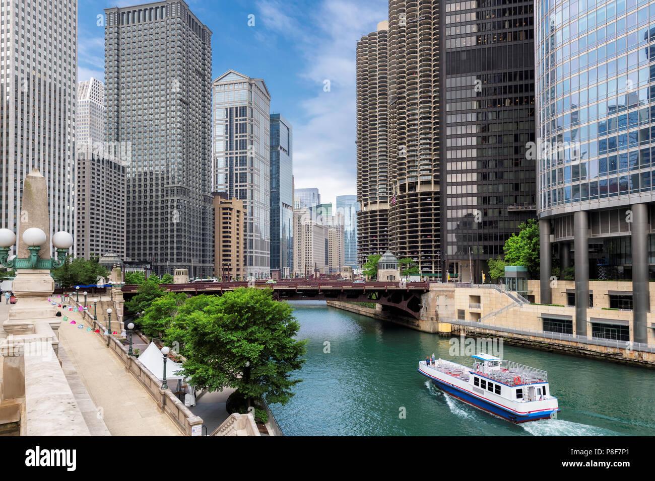 Chicago skyline della città Immagini Stock