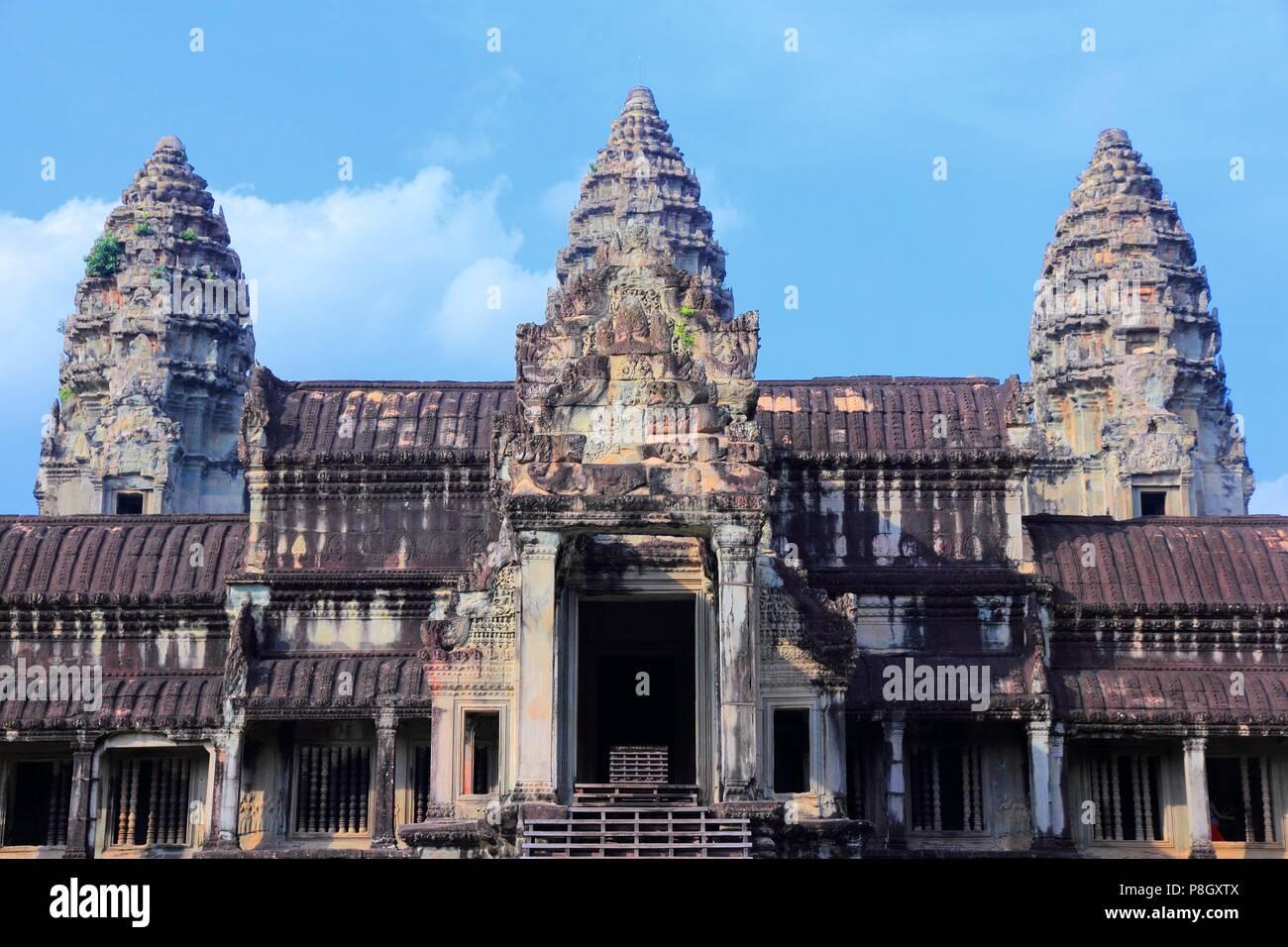 Angkor Wat - tempio Khmer in Siem Reap provincia, Cambogia, sud-est asiatico. UNESCO - Sito Patrimonio dell'umanità. Immagini Stock
